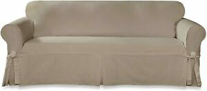Sure Fit Designer cotton Twill SOFA Slipcover (linen color) tan beige washable