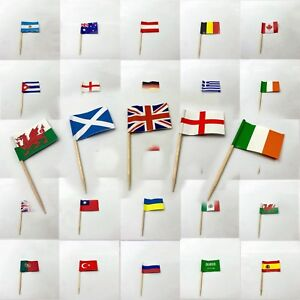 Toothpicks MINI Flag Paper Cupcake Sticks Party Cocktail Catering Countries Deco
