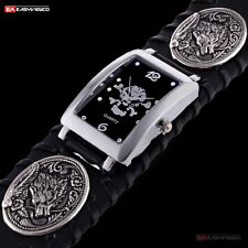 New Luxury Quartz Steampunk Wrist Watch Wolf Stainless Black Leather Men Sport A