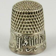 "ANTIQUE SIMONS BROTHERS ""STITCH IN TIME"" SIZE 7 STERLING SILVER SEWING THIMBLE"