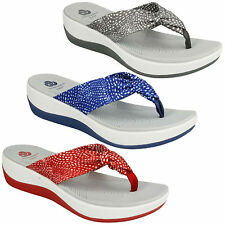ARLA GLISON 1 LADIES CLARKS CLOUDSTEPPERS WEDGE CASUAL TOE POST BEACH SANDALS
