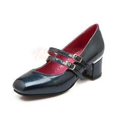 Damen Schuhe Pumps Mary Janes Blockabsatz Lackleder Elegant 6Farbes Gr.32-45.46