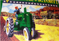 "VINTAGE JOHN DEERE V IS 4 VICTORY FARM TRACTOR 10"" PORCELAIN METAL GAS OIL SIGN!"