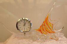 Original Stunning Huge Vintage Murano Glass Tropical Fish Clock 1960s Handcraft