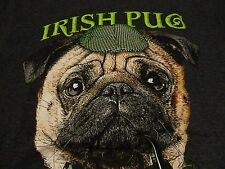 Funny IRISH PUG Puppy Dog Hat PIPE Gray T Shirt NWOT FREE Shipping size Small