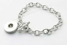 Usa Interchangeable Button Snap Charm Bracelet Heart Toggle Clasp Silver Tone