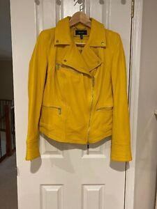 Karen Millen Yellow Biker Leather Jacket - Size UK12