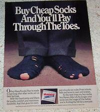 1986 print ad - Hanes mens socks guy feet cheap socks holes Vintage ADVERT Page