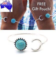 Turquoise Stone Crescent Moon Boho Gypsie Bracelet Open Cuff Bangle Jewellery
