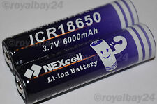 2x NEXcell Li-ion Akku 3,7V 6000mAh NEU ICR 18650 accu  Batterie Fahrradlampe