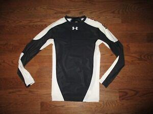 Mens Under Armour Heat Gear Black/White Longsleeve Compression Shirt Sz. M