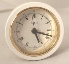 Sveglia Belcour bianco, di metallo e ottone massiccio, lucido numeri romani