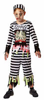 Boys Kids Zombie Skeleton Prisoner Convict Inmate Halloween Fancy Dress Costume