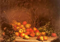Oil painting hubert bellis - an overturned basket of fruit and vegetables canvas