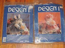 2 Design 1 Soft Sculpture Kits Rosland Rabbit & Priscilla Pig Sew Craft