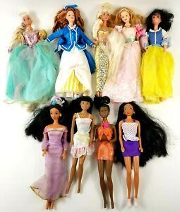 Lot of 9 Vintage Mattel Barbie Disney Fashion Dolls with Clothing 1960-90
