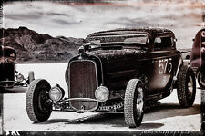 12x18 in Hot rod Ford Racer, Garage Art Vintage Man Cave Black and White poster