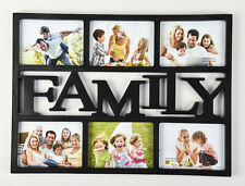 Black FAMILY 6 Multi Picture Aperture Photo Frame Holds 6'x 4' Photos - CL-9628