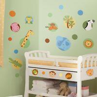 JUNGLE ANIMALS POLKA DOTS WALL DECALS 24 Baby Nursery Stickers Animal Decor