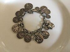 Silpada Oxidized Sterling Silver Roman Coin Cha Cha Charm Bracelet
