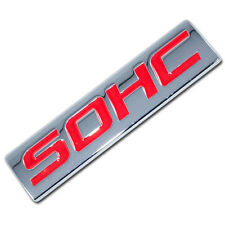 CHROME/RED METAL SOHC ENGINE RACE MOTOR SWAP EMBLEM BADGE FOR TRUNK HOOD DOOR
