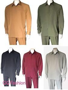 Mens Long Sleeve Shirt & Pants Set , Leisure Suit/ Walking Suit Set 2763