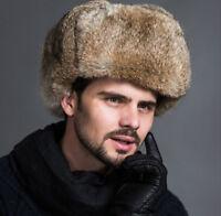 New Men Winter Faux Fur Raccoon Plush Russian Cossack Trapper Hats Warm Fashion