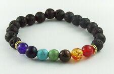 Black Lava Bracelet Multi Colour Beads Stretch