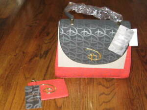 LOUNGEFLY DISNEY LOGO RED & BLACK CROSSBODY BAG + WALLET-New With Tags