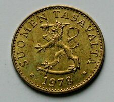 1978 FINLAND Coin - 50 Pennia - AU+ toned-lustre - lion holding sword atop sabre