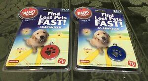 Pair NEW Smart Tag Pet ID Tag - Enameled  Red Blue Paw Print Medium Set Of 2