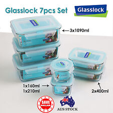 Glasslock 7PCS Tempered Glass Food Container Storage Rectangle Microwave Safe