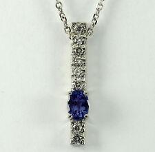 Diamond tanzanite pendant necklace 14K white gold oval round brilliants 1.15CT!!