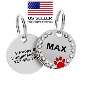 Custom Sparkling Paw Double Sided Pet Tags Crystals Pet ID Engraved Cute Dog ID