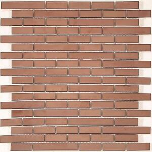 Copper Effect Steel Brick Shape Mosaic Tiles Sheet 300x300x8mm (MT0170)
