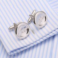 Fashion Cufflinks For Men's Wedding Jewelry Silver Color Brass Shirt Cuff Links