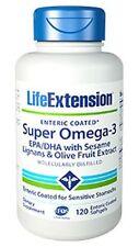 Life Extension Super Omega-3 EPA/DHA  Sesame Lignans & Olive - 120 Ent.Coated SG