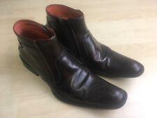 Robert Wayne Disturb Leather Ankle Boots Men's Shoe Size 8 Brown w/ Design Zip