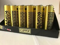 Clipper metal lighter -elegant & stylish gold and black pattern -ideal gift