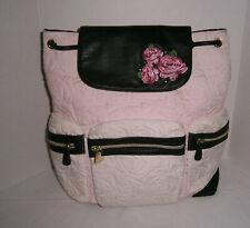 Betsey Johnson Pink Black & White w/ Roses Handbag Backpack Travel Carry On