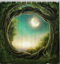 Moonlight Over Enchanted Forest Fabric SHOWER CURTAIN Magical Tree Bath Decor