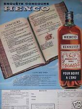 PUBLICITÉ 1958 HENCO HENNESSY POUR BOIRE A L'EAU - ADVERTISING
