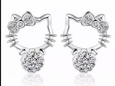 Hello Kitty cat diamanté 925 silver earrings jewellery girls ladies present gift