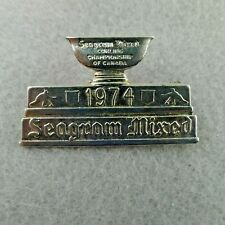 Seagram Mixed Curling Championship Pin of Canada 1974 Silver Tone