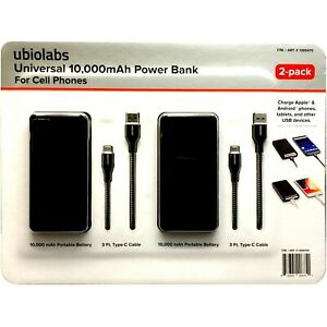 2-Pack ubiolabs Universal, 10,000mAh Power Bank For Cell Phones,1265470