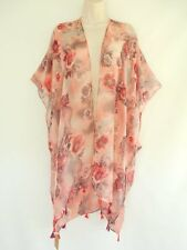Floral Cover Up Open Sheer Tassel Wrap Top  Blouse Beach Kimono One Size Pink