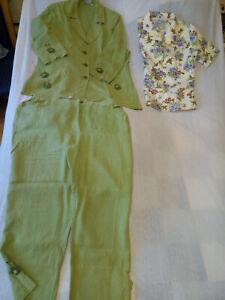 Hosenanzug, Damen von Lambertino mit passender Bluse Leinen grün 42/44