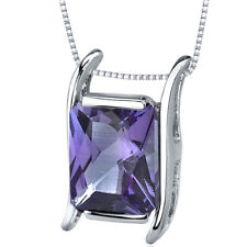 4 CT Radiant Color Changing Alexandrite Sterling Silver Pendant