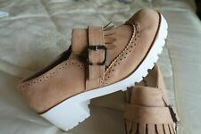 SLIP ON CHUNKY SOLE HEEL SUEDE LOOK LADIES SHOES NEW NEVER WORK AS BIT SMALL