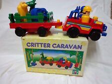 Vintage Discovery Toys CRITTER CARAVAN jeep,wagon & shape-matching animals, EUC
